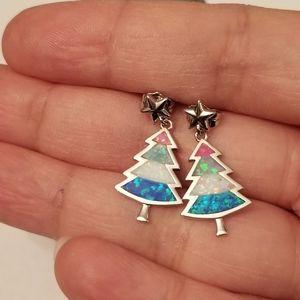 S 925 SILVER CHRISTMAS TREE EARRINGS